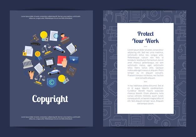 線形およびフラットスタイルの著作権要素カードまたはチラシテンプレート Premiumベクター