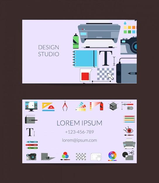 デジタルアートデザインスタジオやレッスン名刺テンプレート Premiumベクター