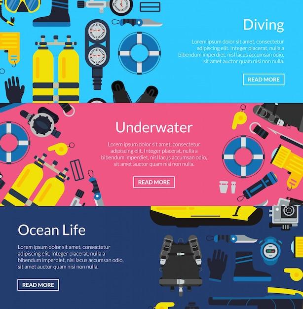 着色された水中ダイビング水平バナーポスターテンプレートコレクション Premiumベクター