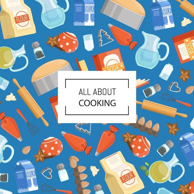 漫画の食器洗い機や食料品のテキストのための場所で。食材を使ったキッチンバナーポスター Premiumベクター