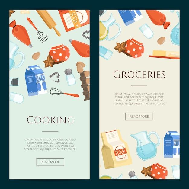 食材や食料品の垂直バナーのテンプレートを調理します。食料品・料理・食材フレッシュポスター Premiumベクター