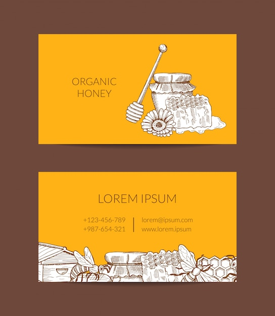 Шаблон визитной карточки для медового фермера или магазина с набросанными элементами фасонной медовой темы Premium векторы