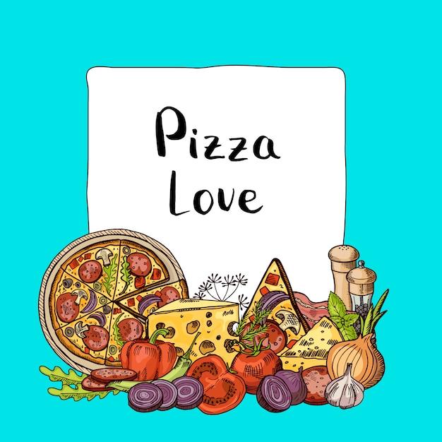 Итальянская пицца набросал элементы кучу ниже рамки с местом для текста Premium векторы