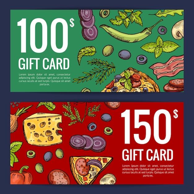 ピザレストランやショップのギフトカードや割引テンプレート Premiumベクター