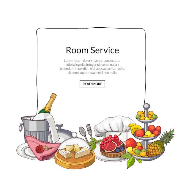 レストランやルームサービスの要素の手描き Premiumベクター