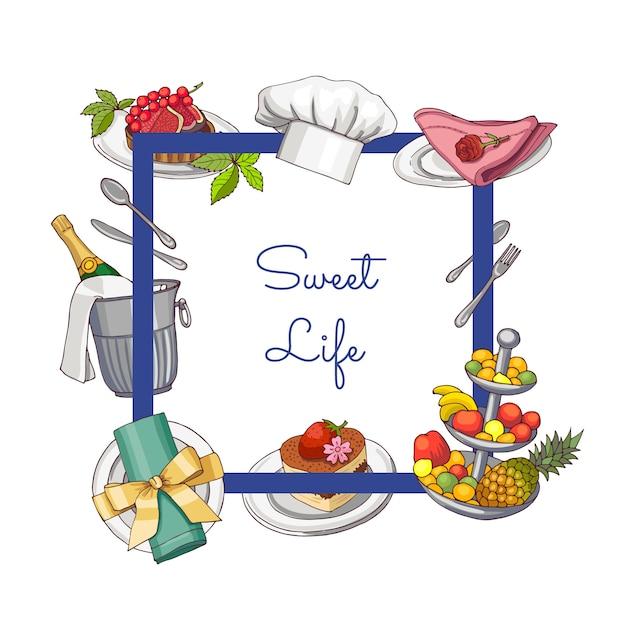 手描きのレストランやルームサービスの要素 Premiumベクター