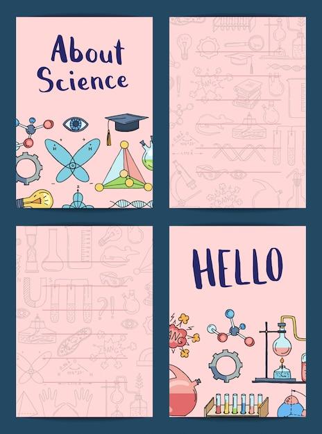 スケッチ科学または化学要素入りノートまたはカードテンプレート Premiumベクター