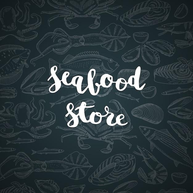 Надпись с магазином морепродуктов или рынка для иллюстрации меню Premium векторы