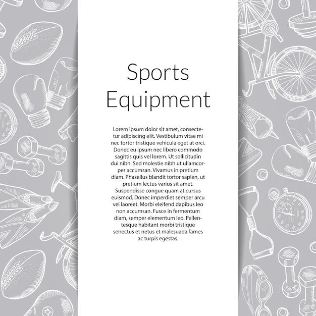 手描きのスポーツ用品とバナー Premiumベクター