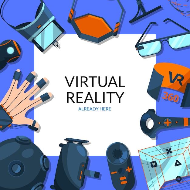 Элементы виртуальной реальности вокруг квадрата с местом для иллюстрации текста Premium векторы