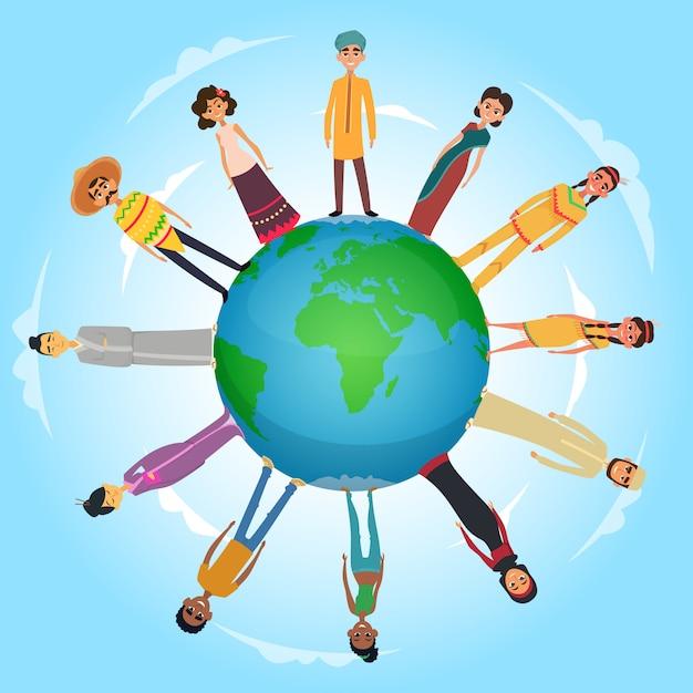 地球の惑星に立っている国際的な人々の男性と女性の概念図 Premiumベクター