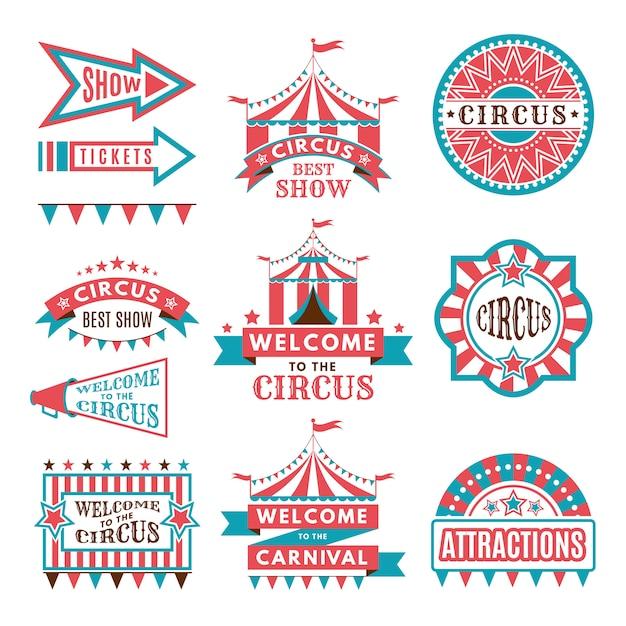 Этикетки в стиле ретро. логотипы для цирковых развлечений Premium векторы