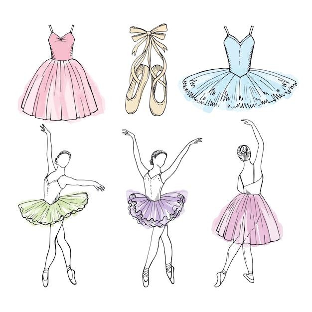 さまざまなバレエダンサーのベクター画像をスケッチします。バレリーナの手描きイラスト Premiumベクター