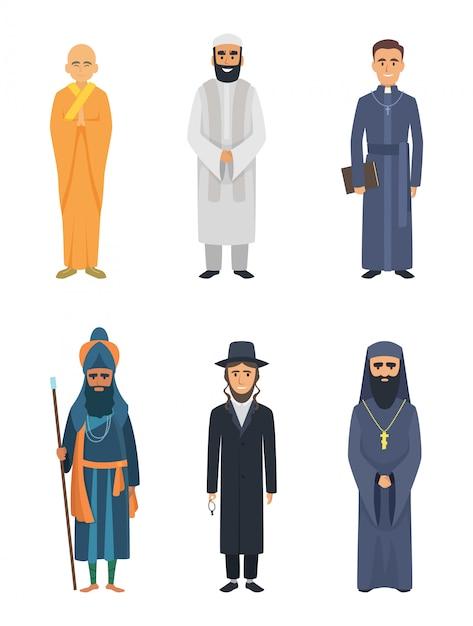 クリスチャン、ユダヤ人および他のさまざまな宗教指導者 Premiumベクター