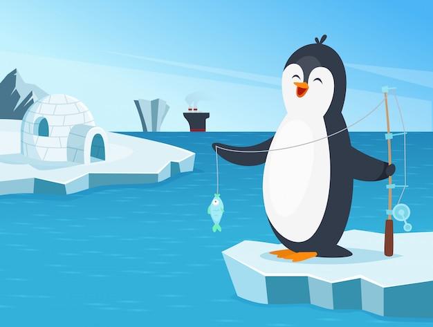 Иллюстрация маленькой рыбалки пингвинов на севере Premium векторы