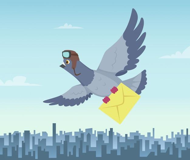 飛んでいるハトとの郵送サービス。航空配達のシンボル Premiumベクター