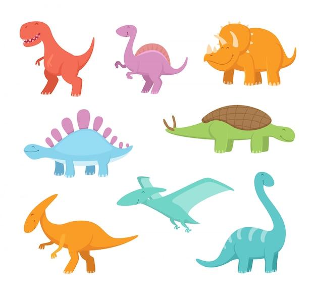 面白い恐竜の漫画セット。先史時代のベクター画像 Premiumベクター