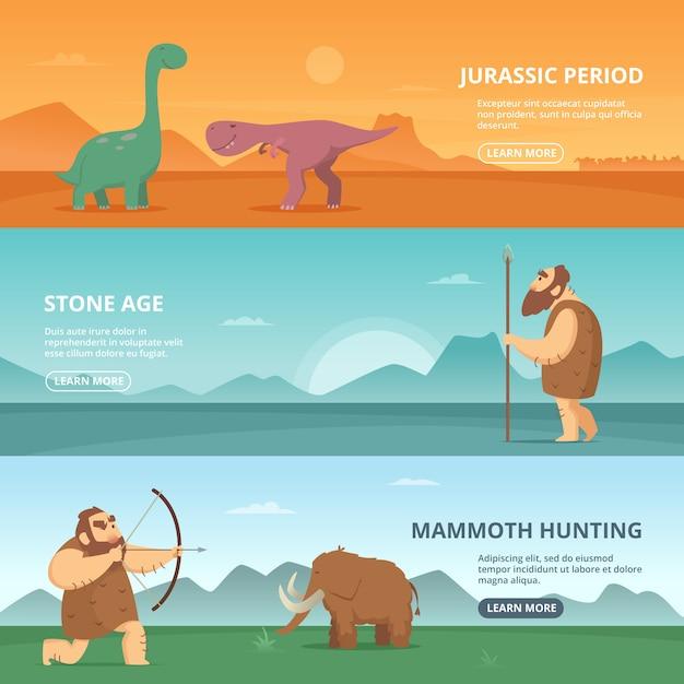 原始的な先史時代の人々とさまざまな恐竜のイラスト入りの水平方向のバナー Premiumベクター