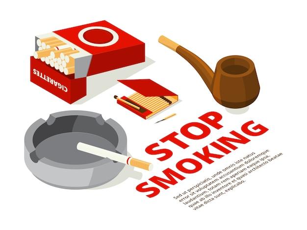 禁煙のテーマのコンセプトイラスト。喫煙者のための道具の様々な等角投影写真 Premiumベクター