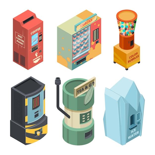 飲み物、コーヒー、スナックなどを包装した食品機械。ベクトル等尺性写真 Premiumベクター