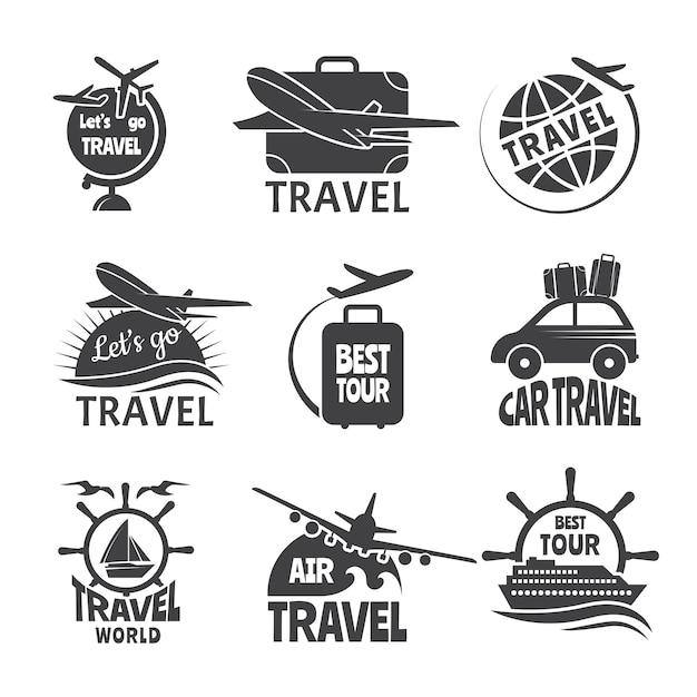 ベクトルラベルまたはロゴのフォーマ旅行のテーマ。飛行機の白黒写真 Premiumベクター
