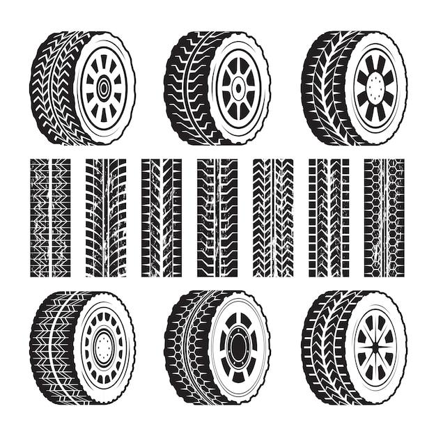 Гоночные колеса и их формы протектора Premium векторы