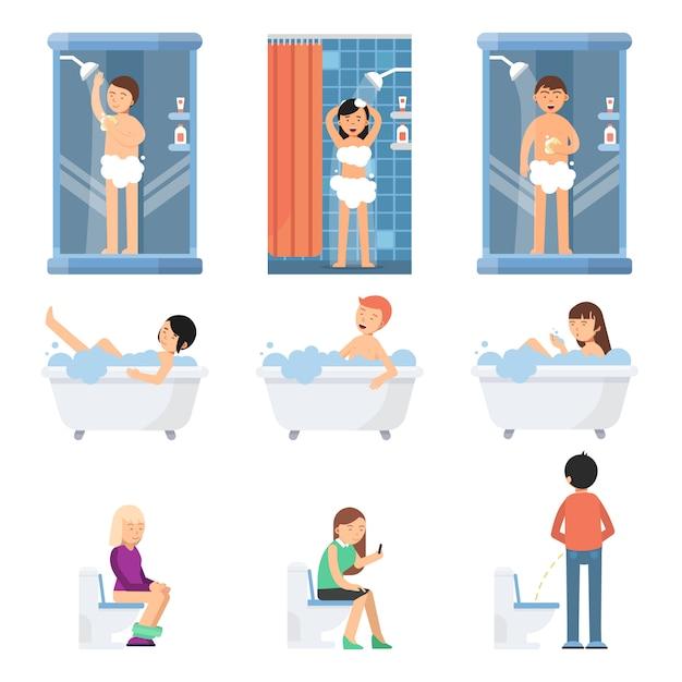 別の面白い人が浴室でシャワーを浴びる。フラットスタイルのベクトル写真 Premiumベクター