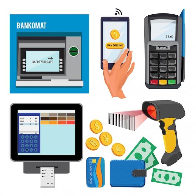 Векторные иллюстрации банкомата и терминала для платежей по кредитным картам Premium векторы