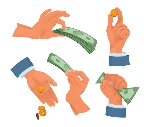 手持ち株お金。漫画のスタイルで設定します。お金の現金、金融通貨の手を握って。ベクトルイラスト Premiumベクター
