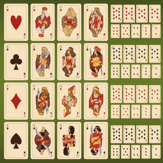 Большой векторный набор игральных карт со стилизованными персонажами Premium векторы