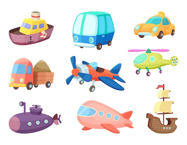 様々な交通機関の漫画イラスト。飛行機、船、車など。子供のためのおもちゃのベクトル写真 Premiumベクター