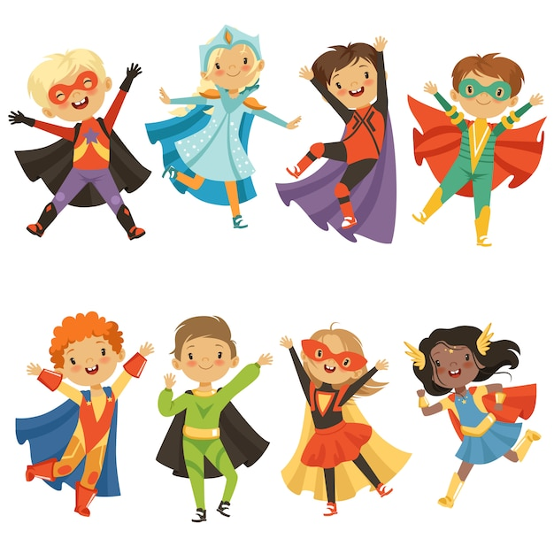 Дети в костюмах супергероев. смешные персонажи изолированы Premium векторы