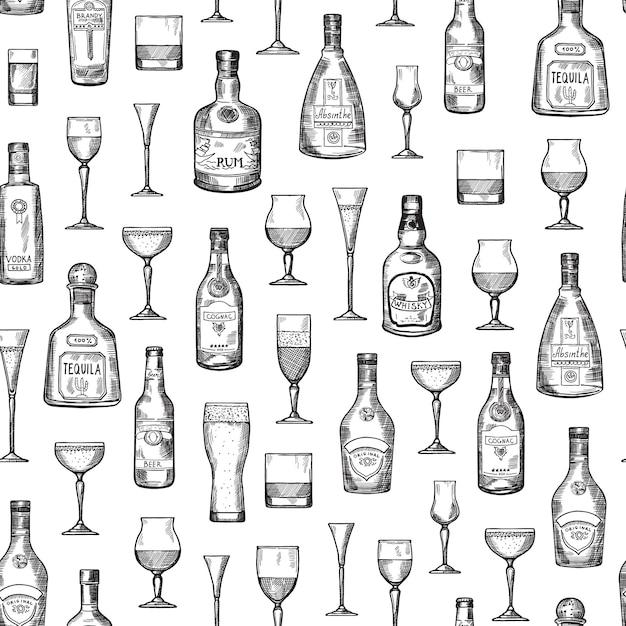 手でベクトルパターン図描画アルコールドリンクボトルとグラス Premiumベクター
