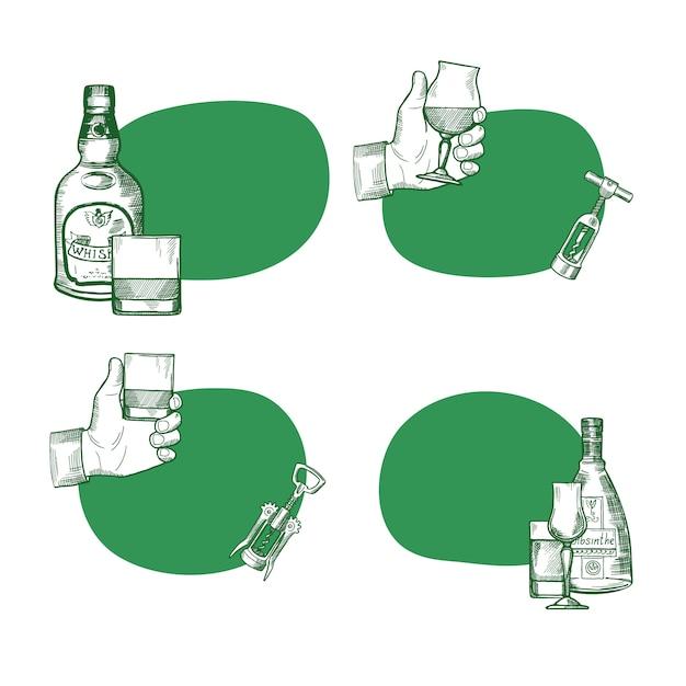 手描きのアルコール飲料のボトルとグラスのイラスト付きのテキストのための場所とステッカーのベクトルを設定 Premiumベクター