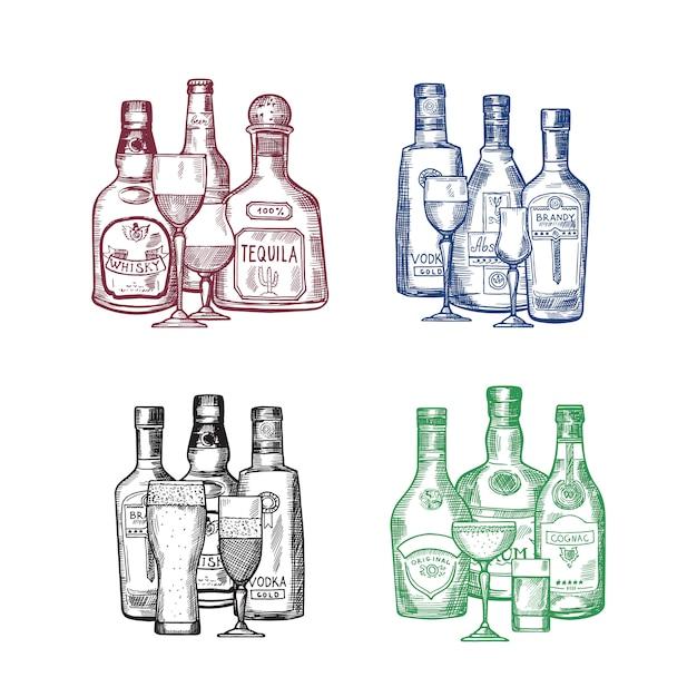 Комплект вектора нарисованной рукой иллюстрации бутылок и стекел питья спирта куч. бутылка напитка алкогольная зарисовка, пиво и коньяк Premium векторы
