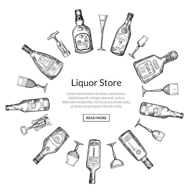 ベクトル手描き下ろしアルコール飲料のボトルとグラスラウンド図の中央の図のテキストのための場所で Premiumベクター