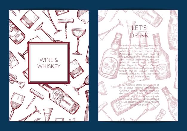 ベクトル手描きアルコールドリンクボトルとグラスのカード Premiumベクター