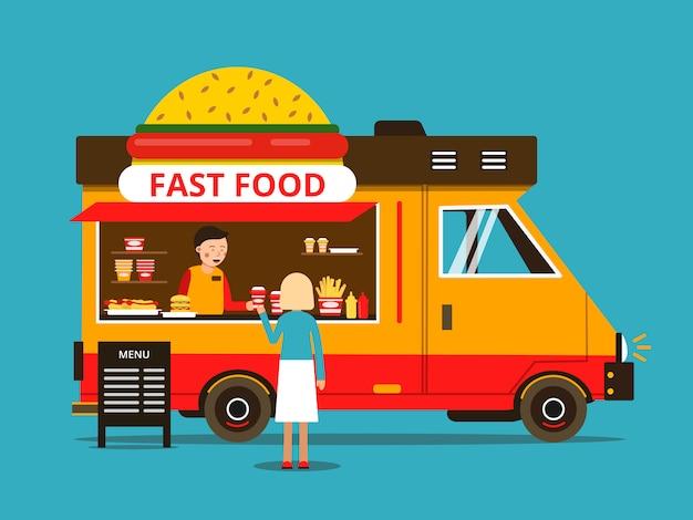 Карикатура иллюстрации еды грузовик на улице Premium векторы