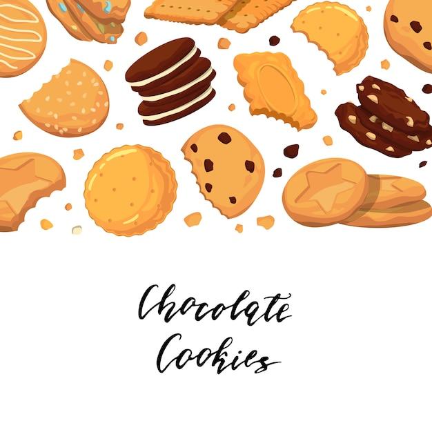 レタリングと漫画のクッキーのイラストの背景 Premiumベクター