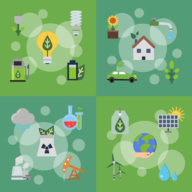 Набор концептуальных иллюстраций с плоскими иконками экологии Premium векторы