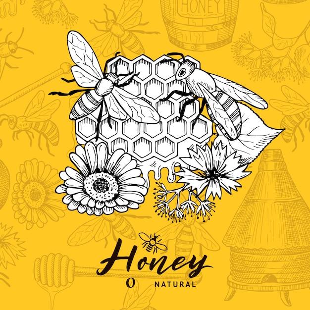 Фон с набросал контурные элементы темы меда и место для текста. пчеловодство и соты Premium векторы