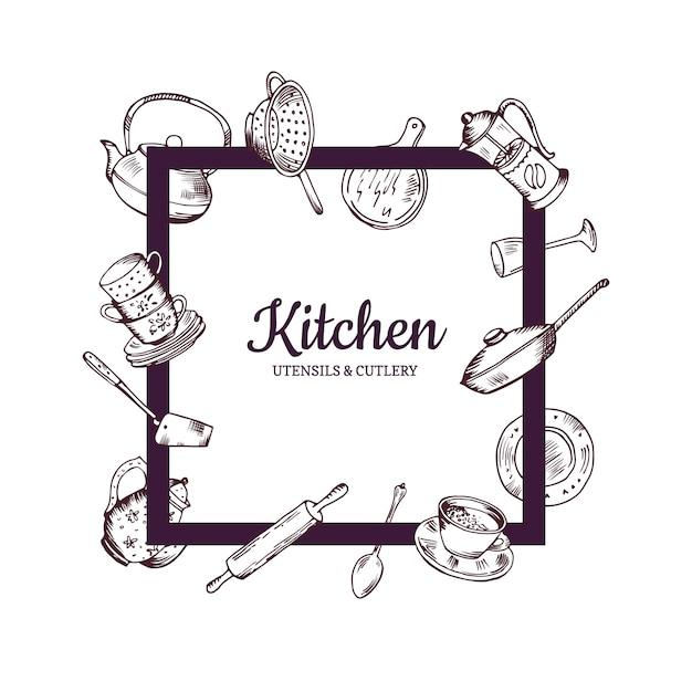 中央イラスト内のテキストのための場所とそれの周りを飛んで手描きキッチン用品とフレーム Premiumベクター