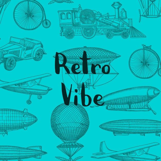 Фон с рисованной дирижабли стимпанк, воздушные шарики, велосипеды и автомобили с местом для иллюстрации текста Premium векторы