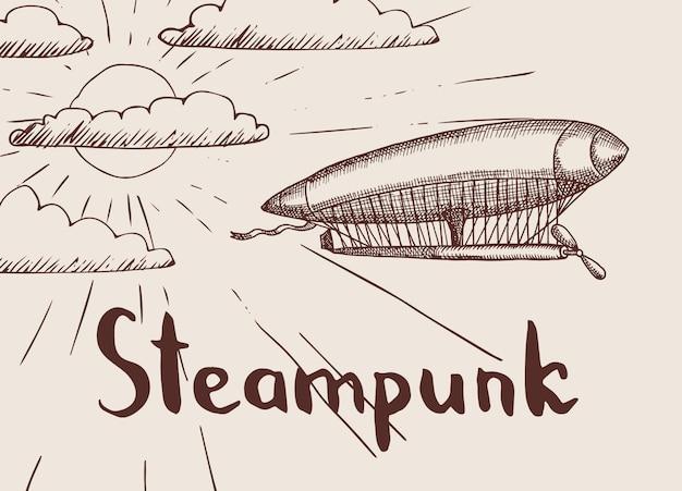 Фон с рисованной дирижабль стимпанк перед солнцем и облаками с местом для иллюстрации текста Premium векторы