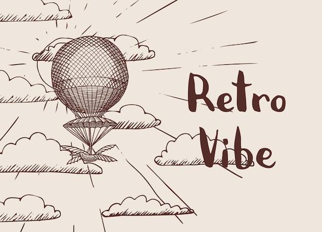 スチームパンクな手と背景には、太陽とテキストの図のための場所で雲の前に気球が描かれました。 Premiumベクター