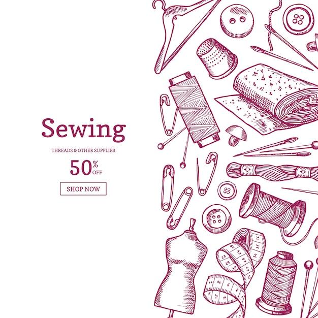 手の描かれた縫製要素背景イラストのテキストのための場所 Premiumベクター