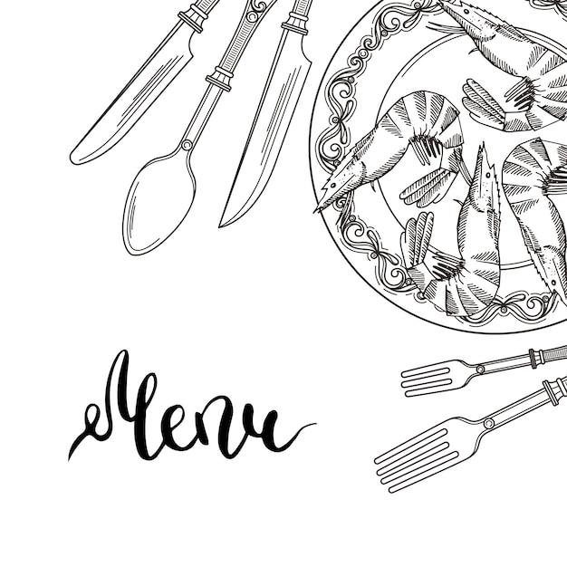 手で背景はテキストのための場所で右上隅に食器の要素を描画します。レストランでは食器の道具、メニューバナー Premiumベクター