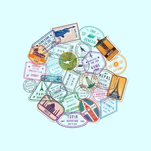 サークルの図に集まった世界の移民と郵便切手のマーク Premiumベクター