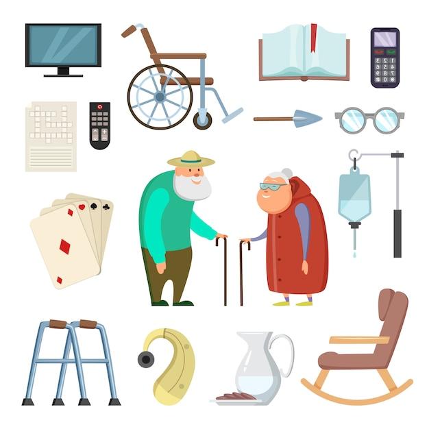 健康的な生活のためのさまざまなアシスタントツールを持つ老夫婦 Premiumベクター
