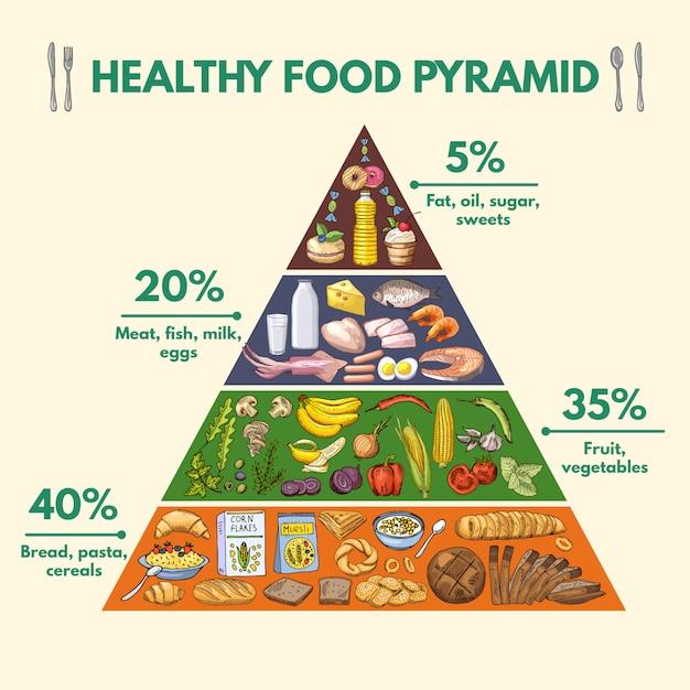 食品からの栄養素の異なるグループのインフォグラフィック可視化 Premiumベクター